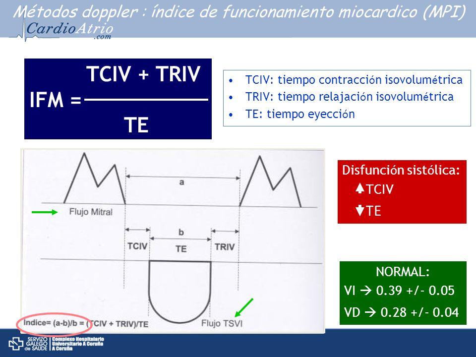Métodos doppler : índice de funcionamiento miocardico (MPI)