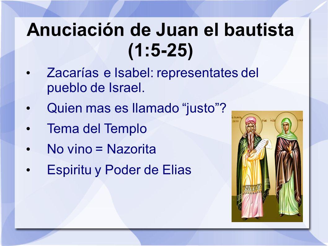 Anuciación de Juan el bautista (1:5-25)
