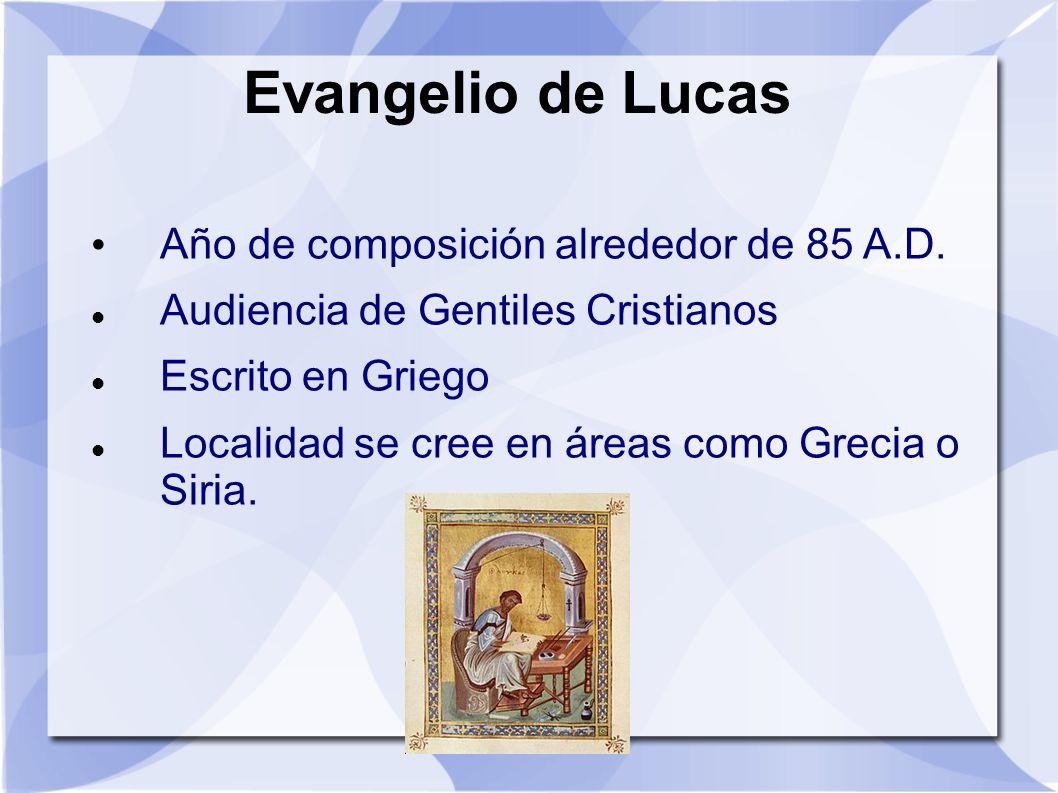 Evangelio de Lucas Año de composición alrededor de 85 A.D.