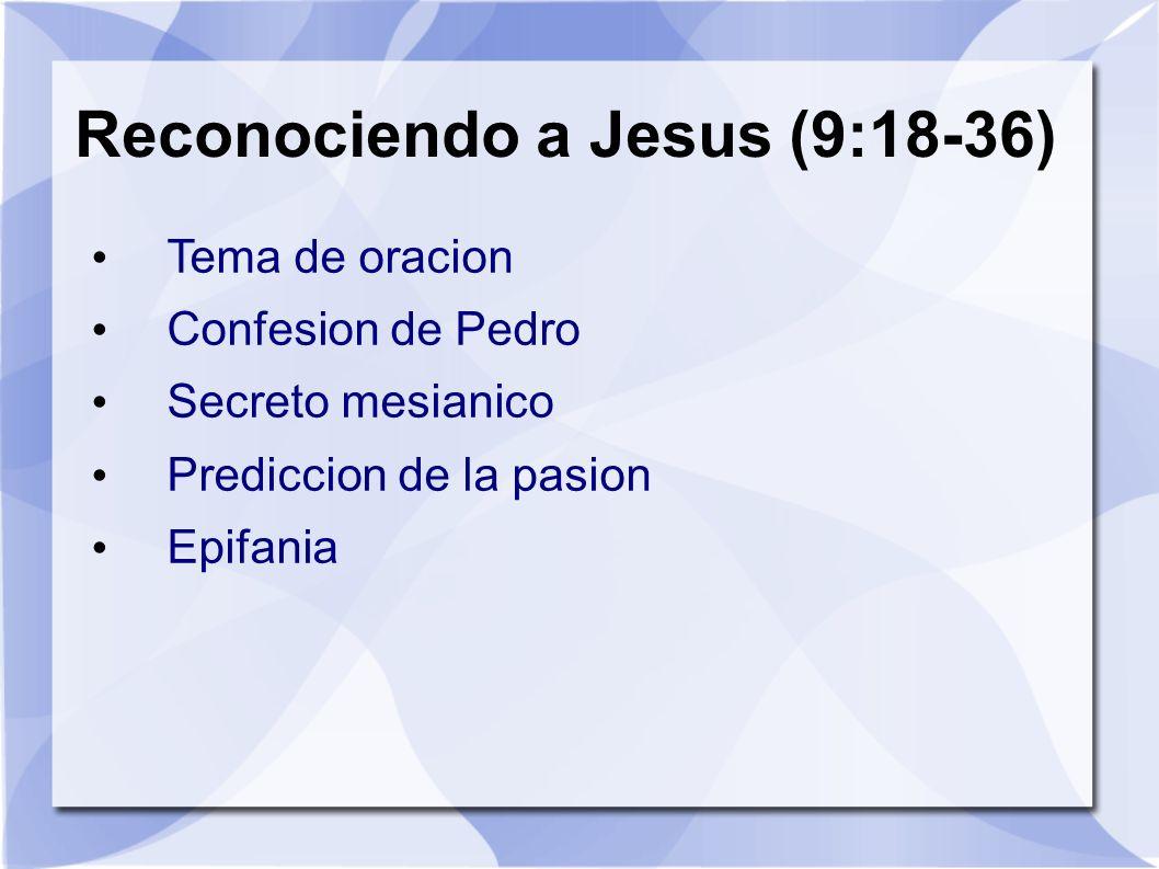 Reconociendo a Jesus (9:18-36)