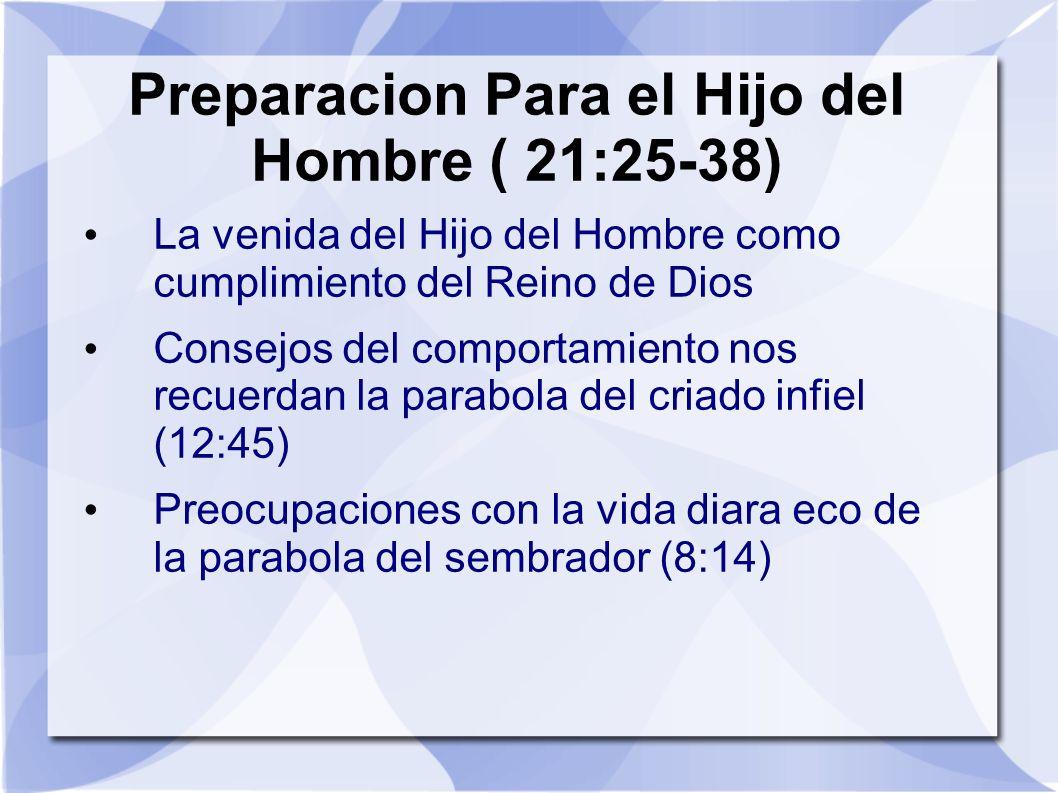 Preparacion Para el Hijo del Hombre ( 21:25-38)