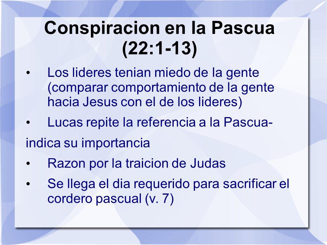 Conspiracion en la Pascua (22:1-13)
