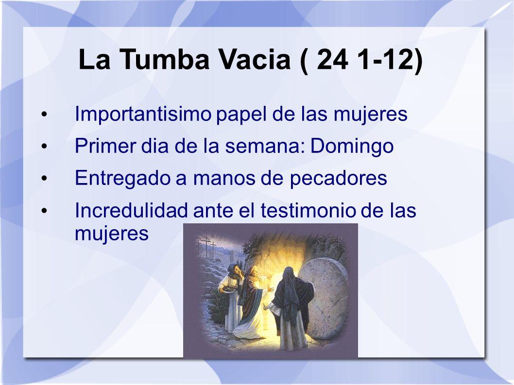 La Tumba Vacia ( 24 1-12) Importantisimo papel de las mujeres