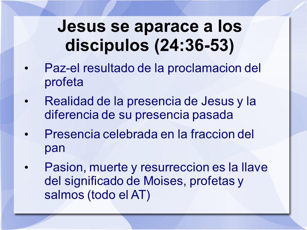 Jesus se aparace a los discipulos (24:36-53)