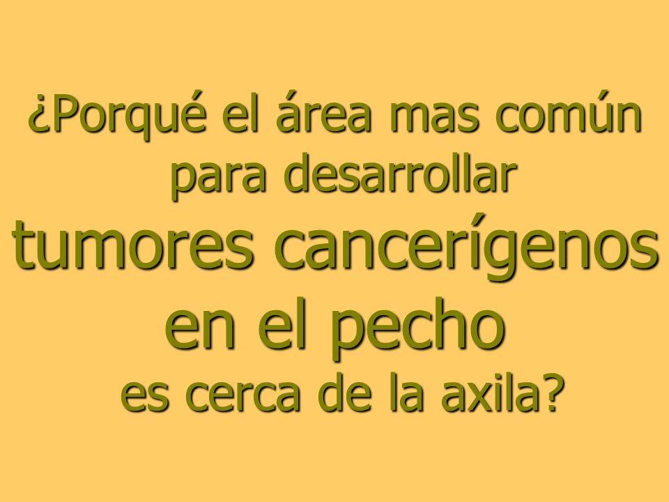 ¿Porqué el área mas común para desarrollar tumores cancerígenos en el pecho es cerca de la axila
