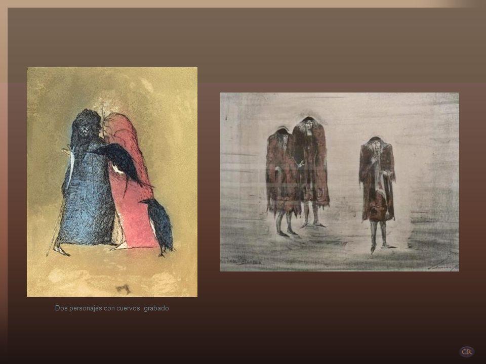 Dos personajes con cuervos, grabado