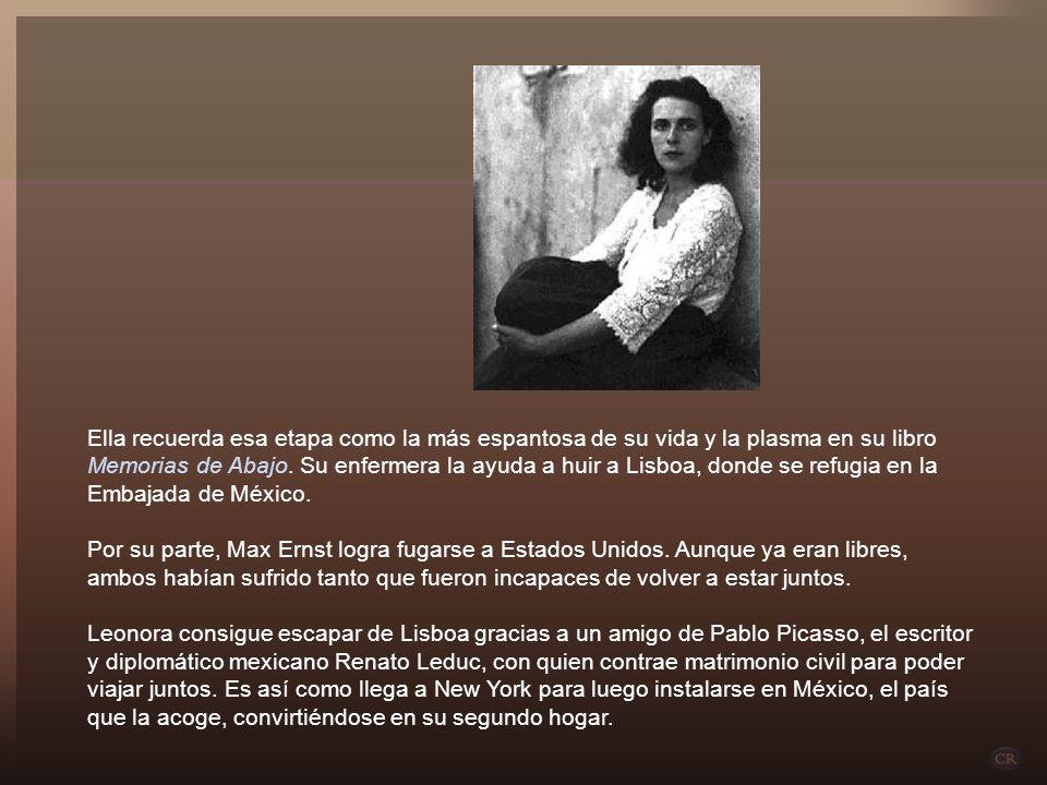 Ella recuerda esa etapa como la más espantosa de su vida y la plasma en su libro Memorias de Abajo. Su enfermera la ayuda a huir a Lisboa, donde se refugia en la Embajada de México.