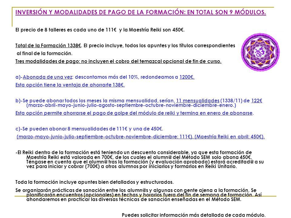 INVERSIÓN Y MODALIDADES DE PAGO DE LA FORMACIÓN: EN TOTAL SON 9 MÓDULOS.