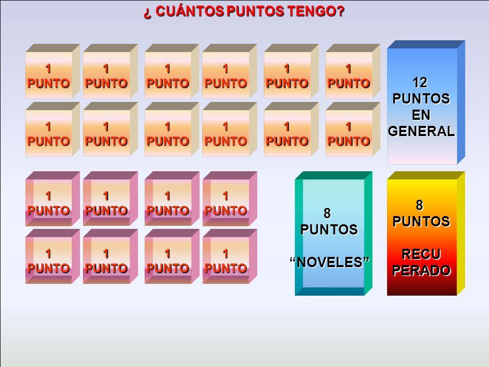 12 PUNTOS EN GENERAL 8 PUNTOS NOVELES 8 PUNTOS RECU PERADO