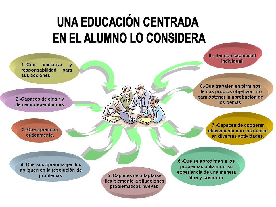 UNA EDUCACIÓN CENTRADA EN EL ALUMNO LO CONSIDERA