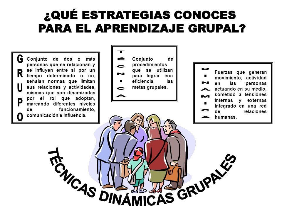 ¿QUÉ ESTRATEGIAS CONOCES PARA EL APRENDIZAJE GRUPAL