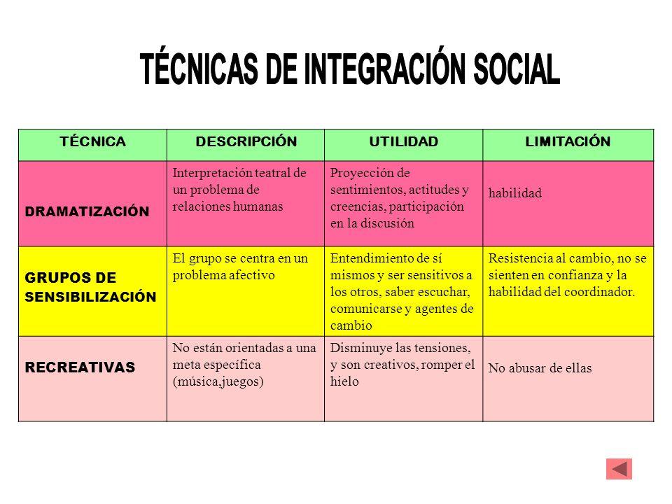 TÉCNICAS DE INTEGRACIÓN SOCIAL