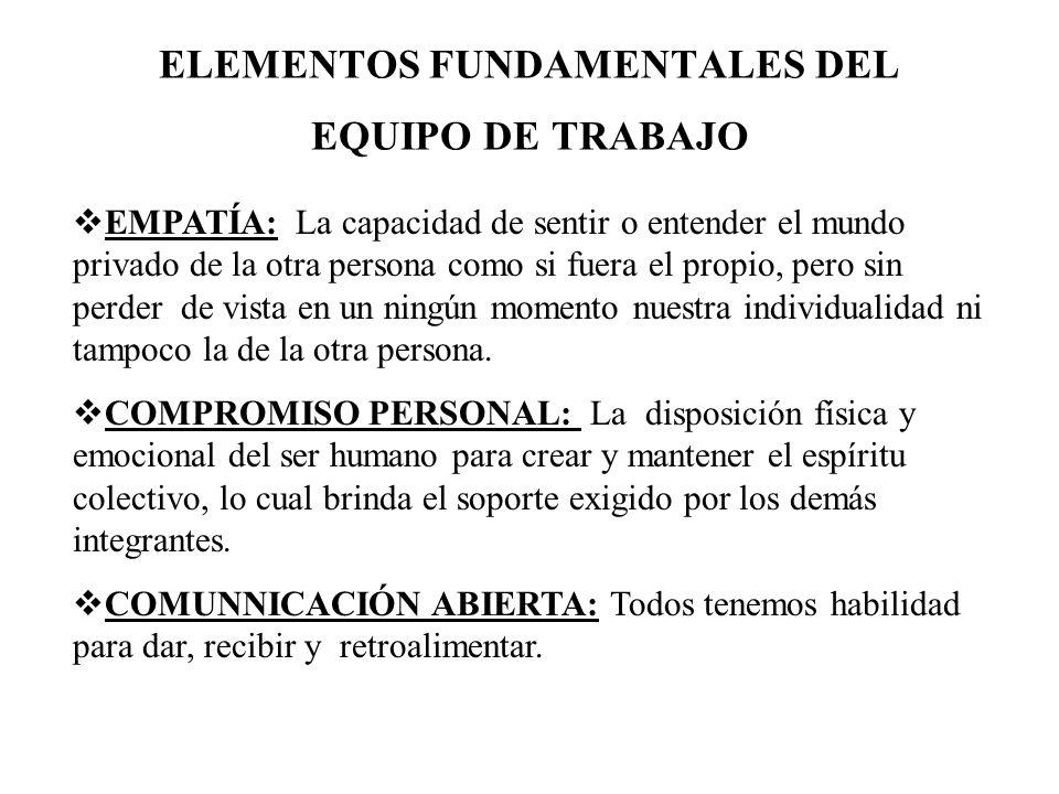 ELEMENTOS FUNDAMENTALES DEL EQUIPO DE TRABAJO