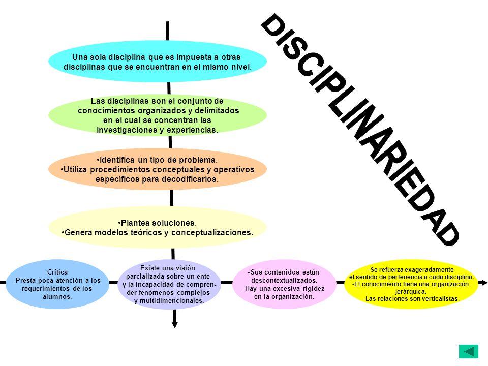 DISCIPLINARIEDAD Una sola disciplina que es impuesta a otras