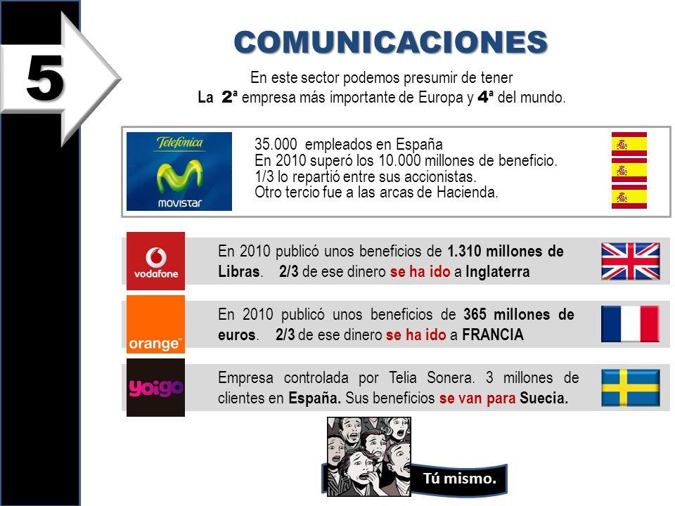 5 COMUNICACIONES En este sector podemos presumir de tener