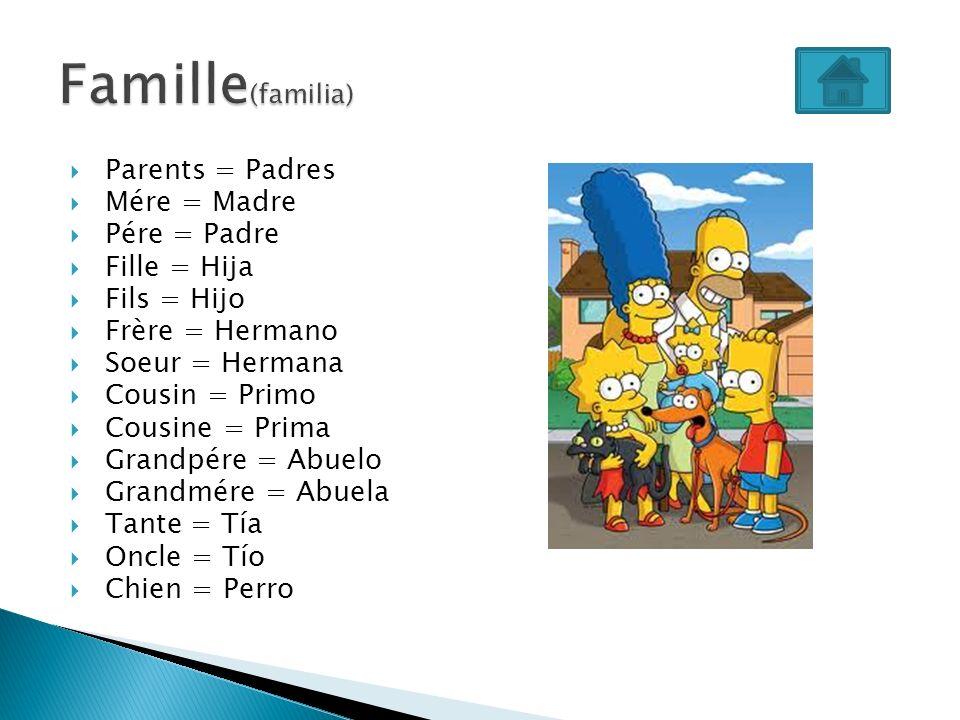 Famille(familia) Parents = Padres Mére = Madre Pére = Padre