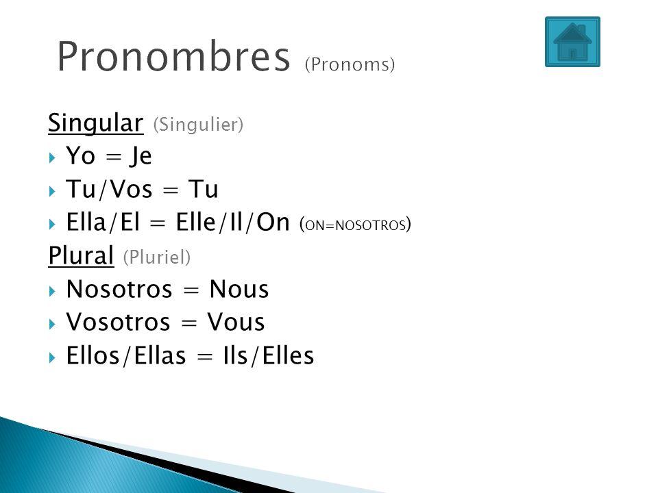 Pronombres (Pronoms) Singular (Singulier) Yo = Je Tu/Vos = Tu