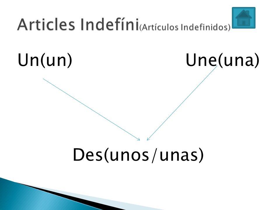 Articles Indefíni(Artículos Indefinidos)