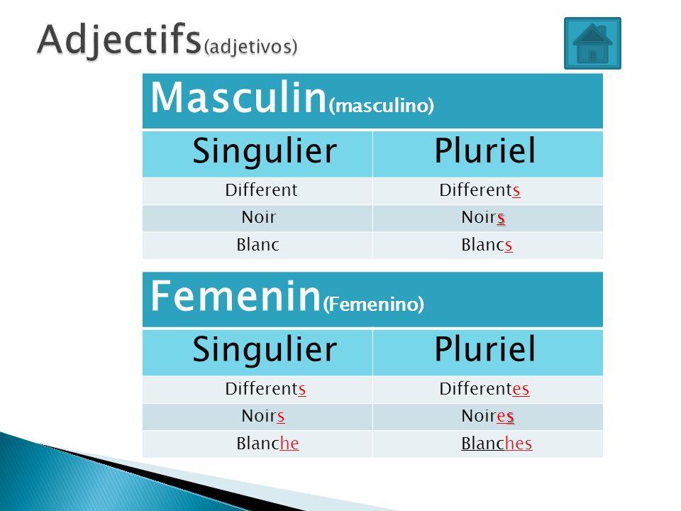 Adjectifs(adjetivos)