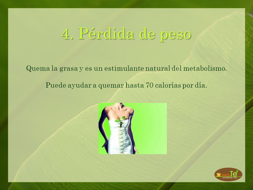 4. Pérdida de peso Quema la grasa y es un estimulante natural del metabolismo.