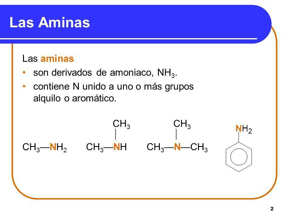 Las Aminas Las aminas son derivados de amoniaco, NH3.