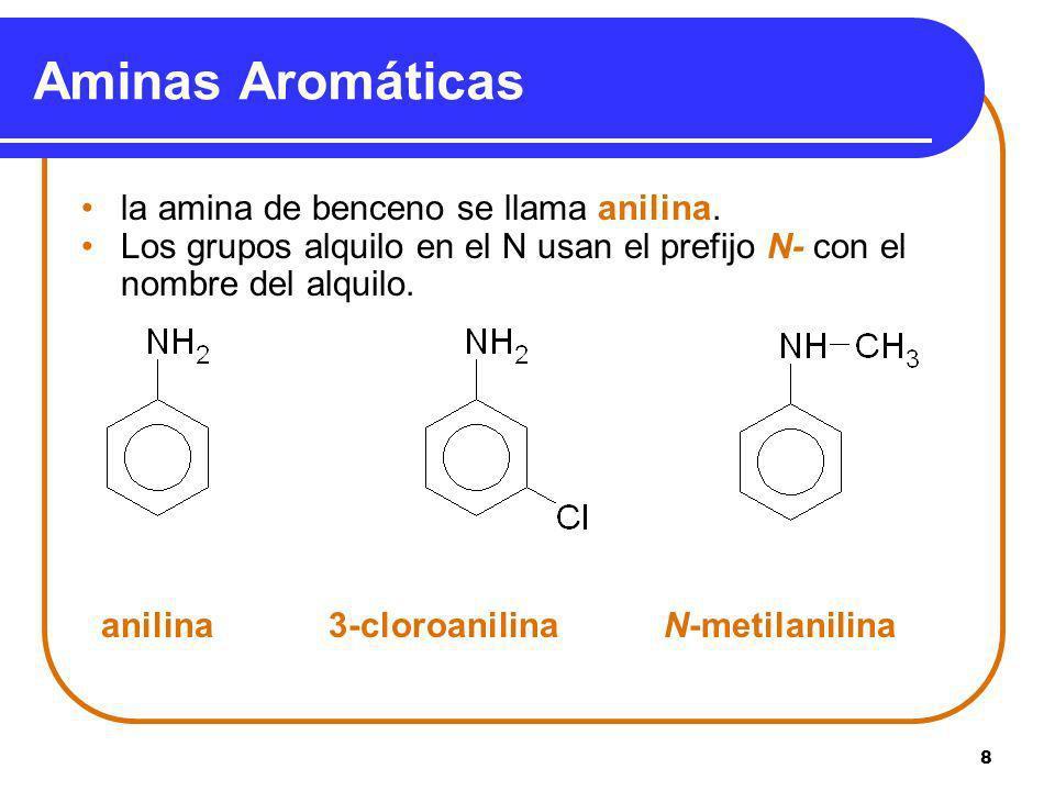 Aminas Aromáticas la amina de benceno se llama anilina.