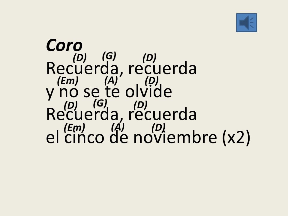Coro Recuerda, recuerda y no se te olvide Recuerda, recuerda el cinco de noviembre (x2)