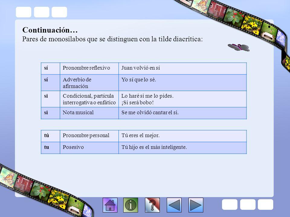 Continuación… Pares de monosílabos que se distinguen con la tilde diacrítica: