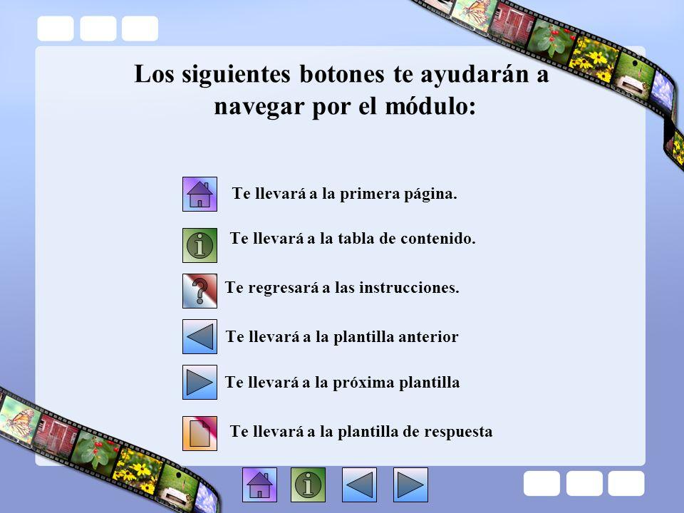 Los siguientes botones te ayudarán a navegar por el módulo:
