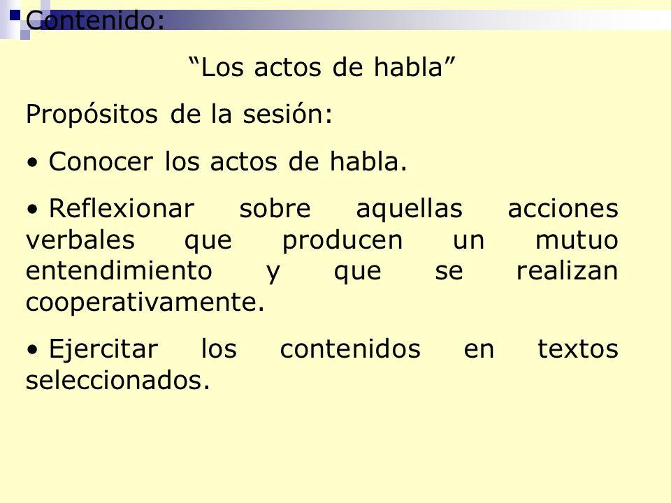 Contenido: Los actos de habla Propósitos de la sesión: Conocer los actos de habla.