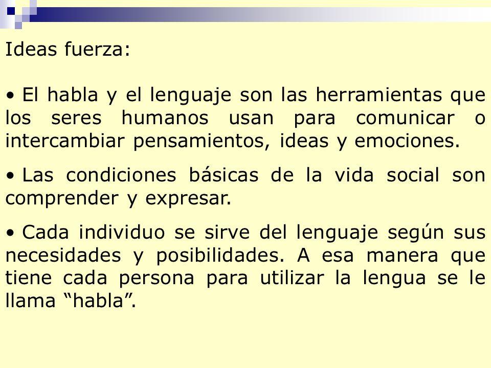 Ideas fuerza: El habla y el lenguaje son las herramientas que los seres humanos usan para comunicar o intercambiar pensamientos, ideas y emociones.
