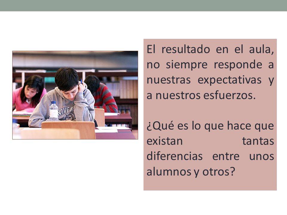 El resultado en el aula, no siempre responde a nuestras expectativas y a nuestros esfuerzos.