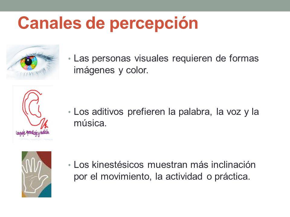 Canales de percepción Las personas visuales requieren de formas imágenes y color. Los aditivos prefieren la palabra, la voz y la música.