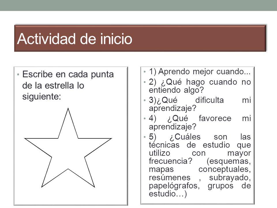 Actividad de inicio Escribe en cada punta de la estrella lo siguiente: