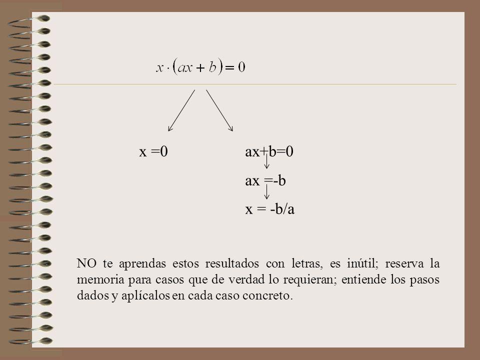 x =0 ax+b=0. ax =-b. x = -b/a.