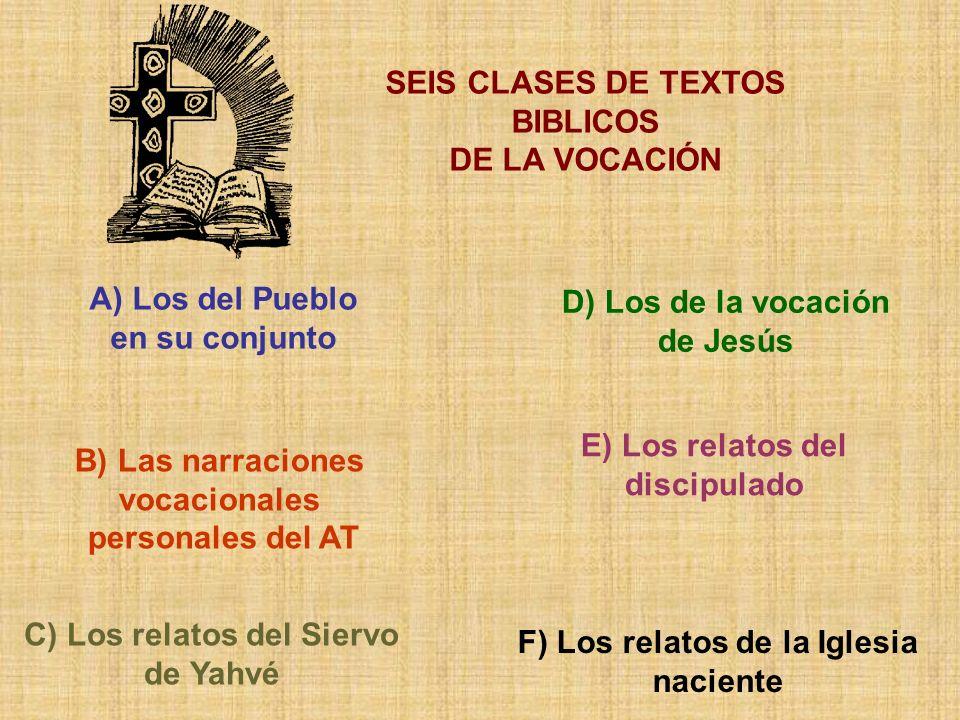 SEIS CLASES DE TEXTOS BIBLICOS DE LA VOCACIÓN