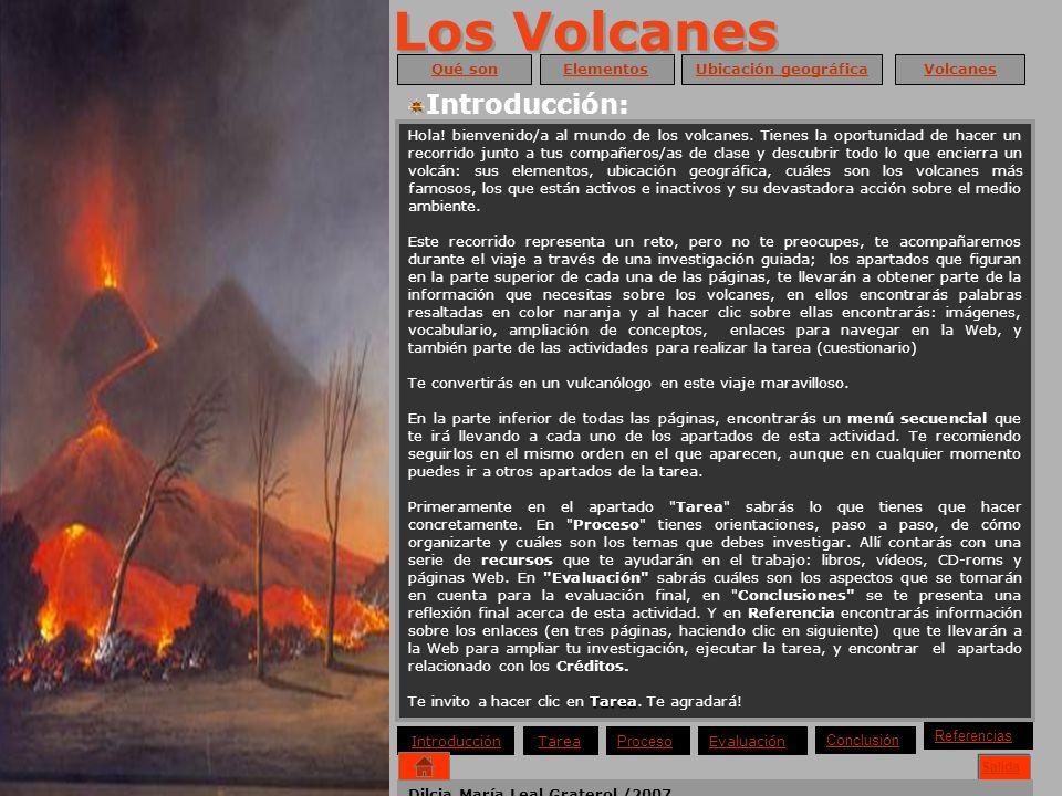 Los Volcanes Introducción: Inicio Ayuda Salida Qué son Elementos