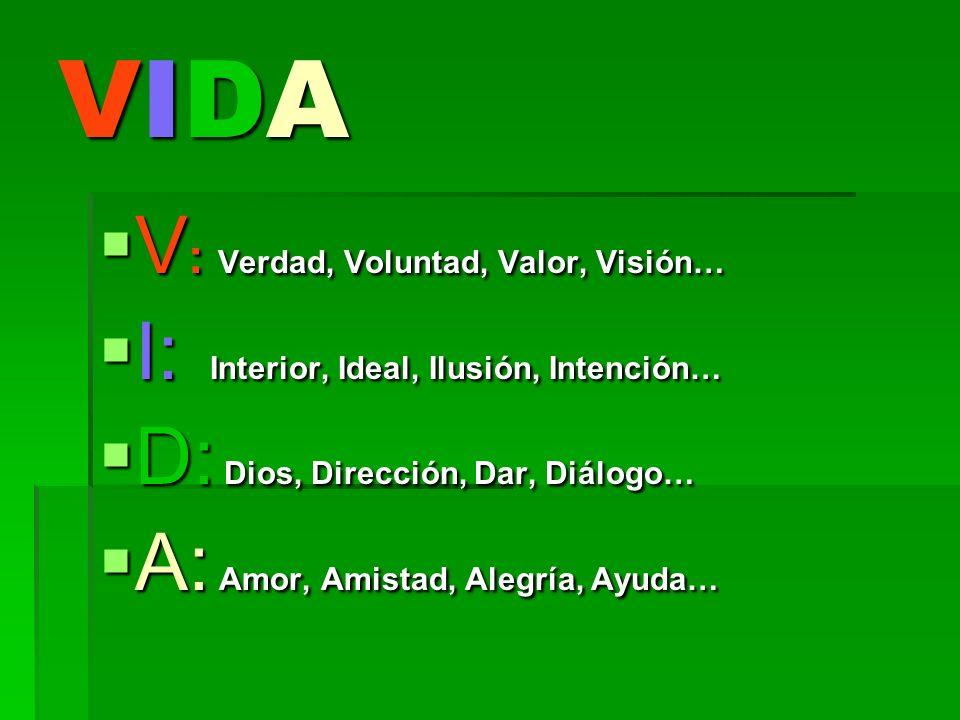VIDA V: Verdad, Voluntad, Valor, Visión…