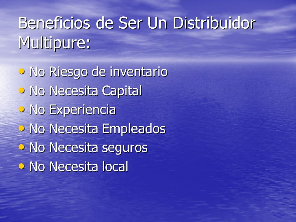 Beneficios de Ser Un Distribuidor Multipure: