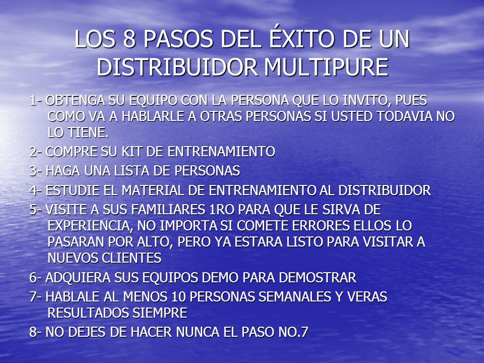LOS 8 PASOS DEL ÉXITO DE UN DISTRIBUIDOR MULTIPURE