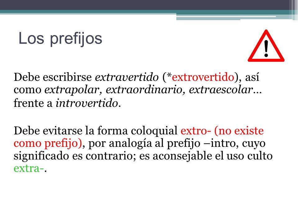 Los prefijos Debe escribirse extravertido (*extrovertido), así como extrapolar, extraordinario, extraescolar…
