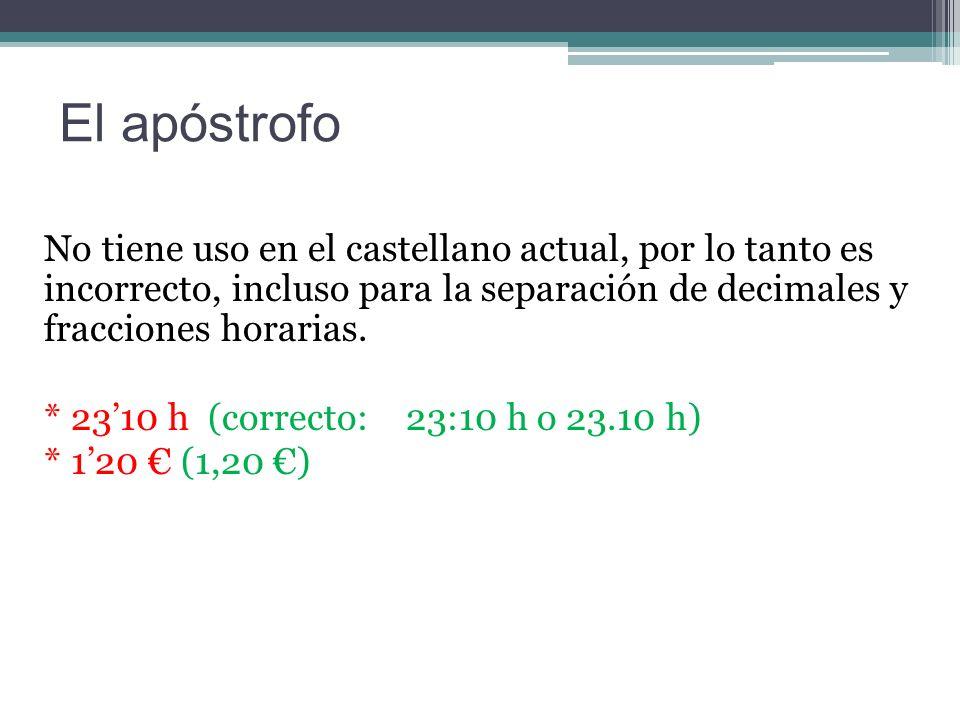 El apóstrofo No tiene uso en el castellano actual, por lo tanto es incorrecto, incluso para la separación de decimales y fracciones horarias.