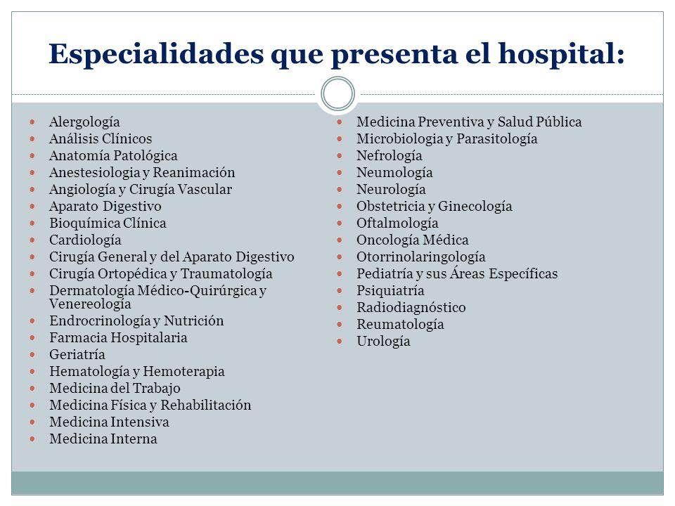 Especialidades que presenta el hospital: