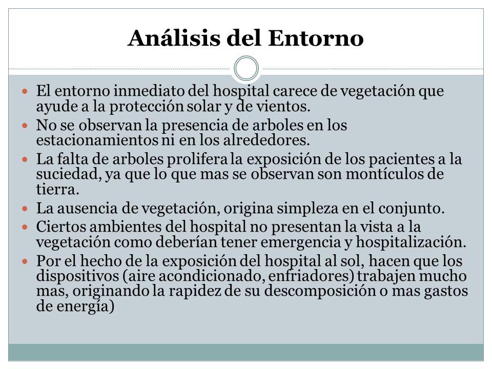 Análisis del Entorno El entorno inmediato del hospital carece de vegetación que ayude a la protección solar y de vientos.