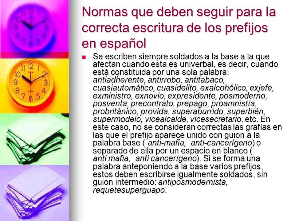 Normas que deben seguir para la correcta escritura de los prefijos en español