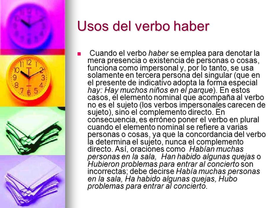 Usos del verbo haber