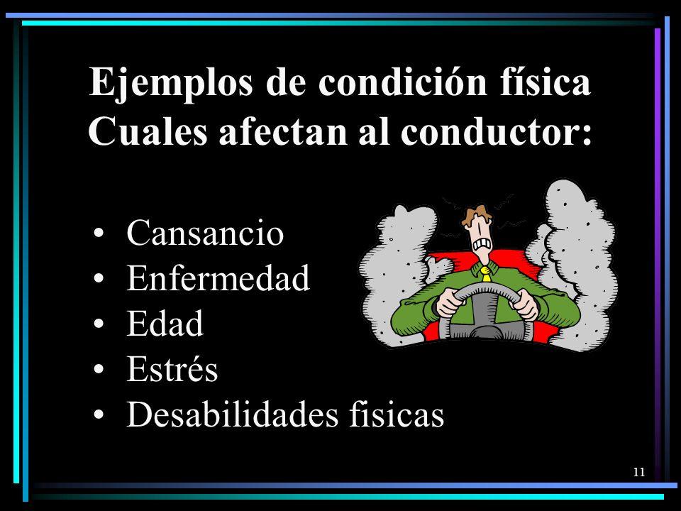 Ejemplos de condición física Cuales afectan al conductor: