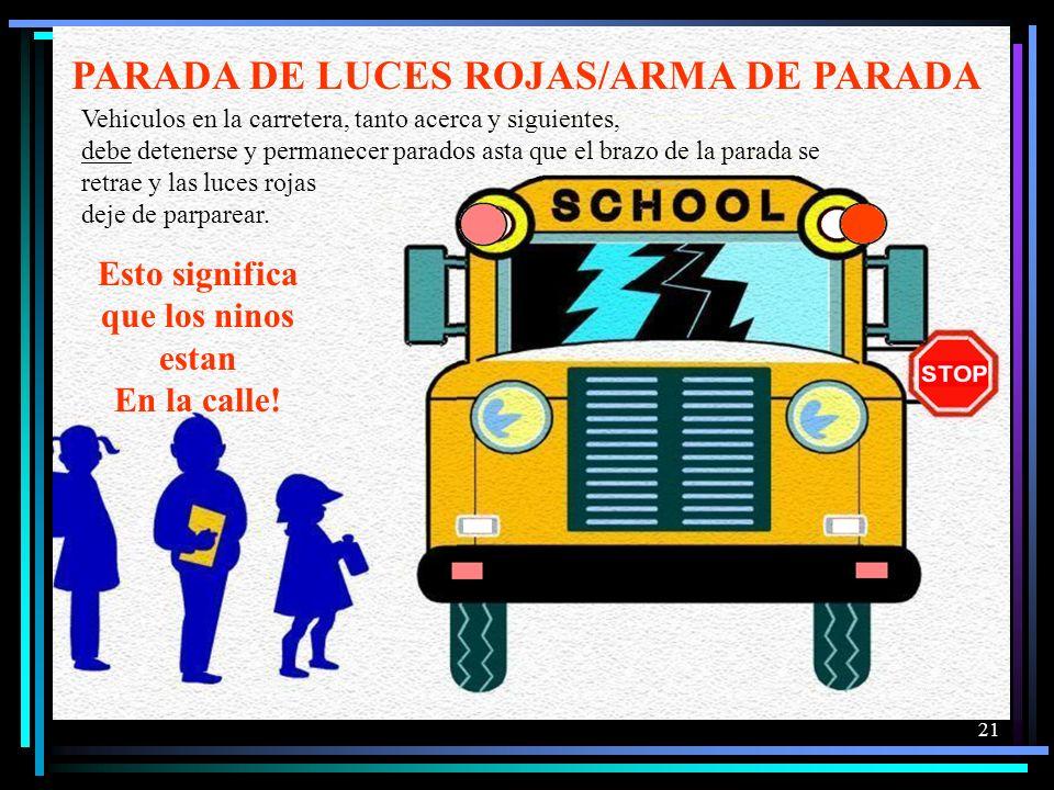PARADA DE LUCES ROJAS/ARMA DE PARADA Esto significa que los ninos