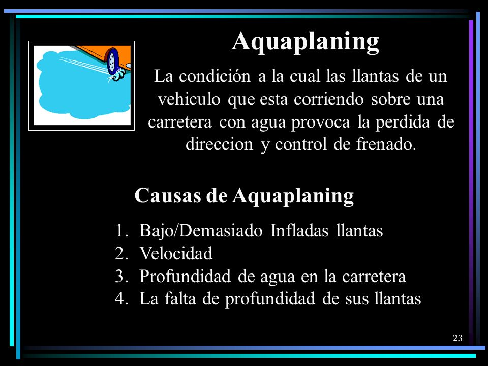 Aquaplaning Causas de Aquaplaning
