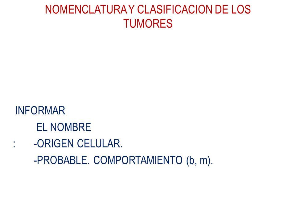 NOMENCLATURA Y CLASIFICACION DE LOS TUMORES